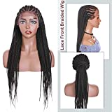 Hairro Lace Front Wigs for Black Women Synthetic Hair Box Braiding Cornrow Wig 30 Inch Extra Long Frontal Lace Twist Braided Wigs Deep Part Wide Lace Space #1B Natural Black