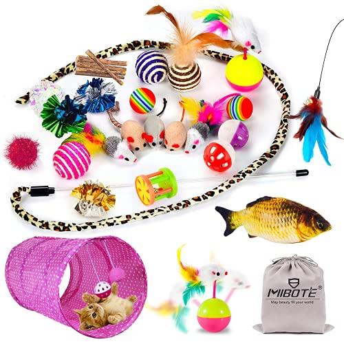 MIBOTE 30 Stück Katzenspielzeug Set mit Katzentunnel, Katzenminze, Spielzeug sortiert, 2-Wege-Tunnel, Fisch, interaktive Feder-Teaser, flauschige Maus, Knisterregenbogen-Bälle für Baby-Kätzchen
