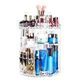 360 Lazy Susan Makeup Organizer, Rotating Bathroom Shelves Countertop Carousel Organizer Cosmetic Storage, Crystal Clear