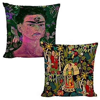 Throw Pillow Covers Square Cushion Covers Throw Pillow Case Linen/Cotton Frida Kahlo Self-Portrait Abstract Art Individuation Special Pillow 18x18inch Multicolored