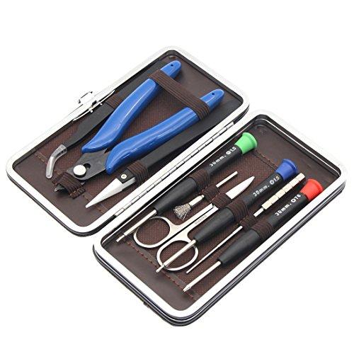 DIY Tool kit set per riparazioni domestiche e gioielli,9case-screwdriver + avvolgimento in pelle in 1Coil Jig + spazzola in acciaio forbici in acciaio INOX + + pinzette + pinza