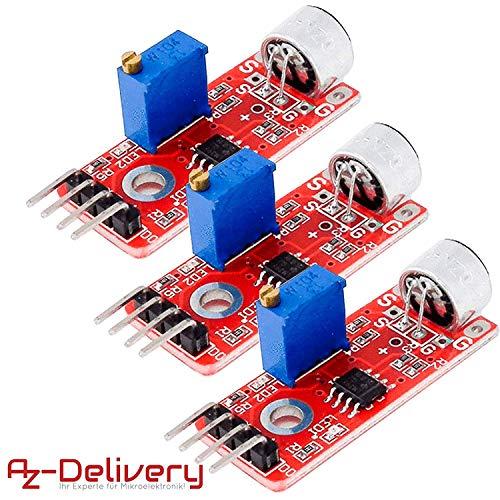 AZDelivery ⭐⭐⭐⭐⭐ 3 x KY-037 Micrófono detección de Sonido de Alta sensibilidad módulo Grande para Arduino