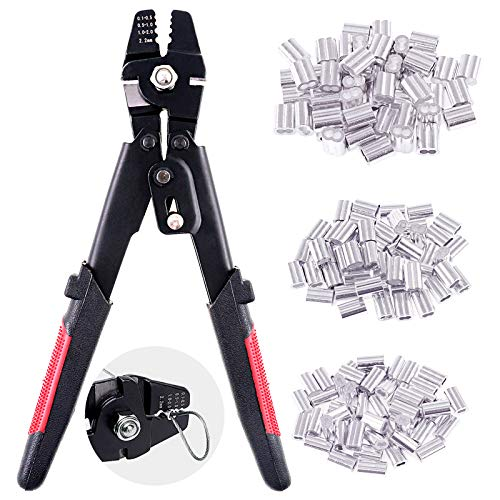 Swpeet Profession Up To 2.2mm Wire Rope Crimping Tool Wire Rope Swager Crimpers Fishing Crimping Tool With 150Pcs 3 Size Aluminum Double Barrel Ferrule Crimping Loop Sleeve Kit