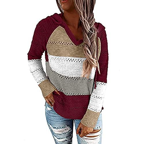 joyvio Damska bluzka z długim rękawem V Neck Cardigans Casual kieszenie dzianinowe swetry paski tunika bluzy damskie jesienno-zimowa bluzka topy bluzy (Color : Red, Size : S)