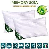 Evergreenweb - Coppia Cuscini Letto in MEMORY FOAM e oli essenziali di SOIA BIO 40x70 alti 12 cm,...