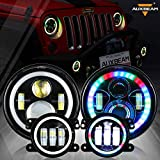 Auxbeam RGB 7' Headlight + 4' Fog Light Combo Compatible with Jeep Wrangler JK TJ LJ CJ 1997-2018, Bluetooth Multi-color 7 In LED Headlamps & 4 In Fog Lamps w/ Amber Turn Signal & DRL