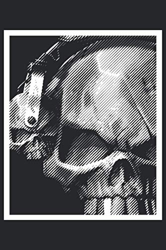 Musik Totenkopf mit Kopfhörer Notizbuch: Format: A5 (6x9 Zoll) • 110 Seiten • Punkte Raster•Mit...