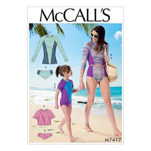 Mccall's Patronen 7417, Missen/Meisjes Badpakken, Maten S-XL, Tissue, Multi/Kleur, 17x0.5x0.07 cm