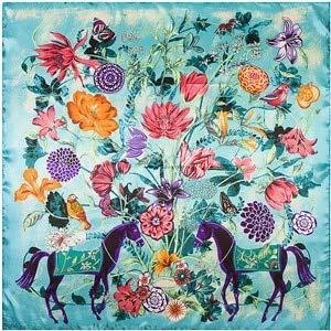 Bufanda Cuadrada Pura para Mujer Bufanda Arrugada Bufanda Grande con Estampado de Flores para Mujer - 921003