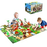 Baccow 60pcs Kids Dinosaur Toys for Age 3 4 5 6 7 8 9yr Year Old Boys Girls, Educational Big Toy Dinosaurs Playsets/Figures on Activity Dinosur Play Mat, Tech Learning T Rex Dinosaur Toddler Gifts