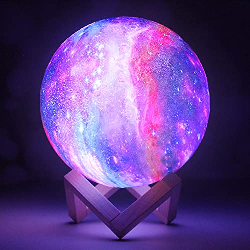 Galaxy Light 3D Galaxy lamp 7.1Inch 16Colors Moon lamp Lava lamp Moon Light Ball Moon Night Light with Stand Personalized Gift for her, him, Girlfriend, Friends, Family