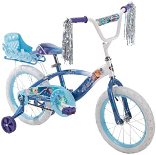 Huffy 16 Inches Girls 'Frozen' Bike with Doll Carrier Sleigh (Doll not Included) , Blue, With Training Wheels, Adjustable Seat, Durable