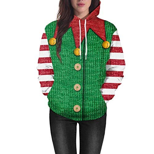 ReooLy Frauen Weihnachten Langarm Animal Print Drawstring Hoodie Sweatshirt Sweatshirt Casual Top(Armeegrün/X-Large)