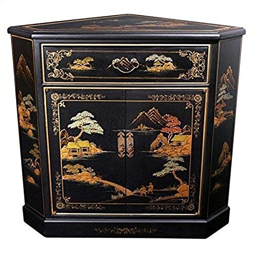 Oriental Furniture Japanese Corner Cabinet - Black Landscape