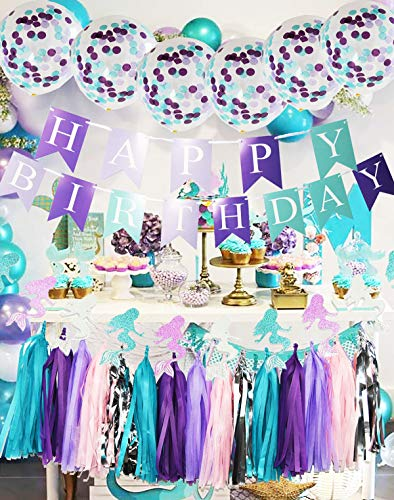 Purple Teal Mermaid Party Supplies Mermaid Teal Purple Cofetti Ballons Glitter Paper Garland Teal Purple Happy Birthday Banner Tassel Garland Mermaid Birthday Decorations