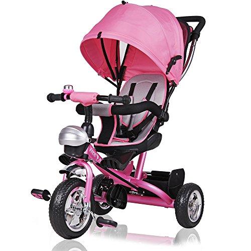 Dreirad Kinderdreirad Pink 5-Punkte Gurt abnehmbares Dach Kinderwagen Fahrrad Kinder Buggy