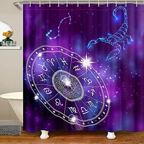 Skorpion Konstellation Stoff Duschvorhang, Lila Galaxy Nebula Duschvorhang für Badezimmer, Tierkreis Geometrie Boudless Universe Wasserdichter Duschvorhang für Badezimmer, 78 Zoll lang