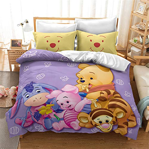 Goplnma - Juego de ropa de cama Disney Winnie The Pooh Bear de microfibra, impresión digital 3D, multicolor (220 × 260 cm, 16)