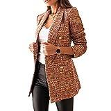 Mujer Blazer con Solapa de Doble Botonadura,Chaquetas de Traje a Cuadros Moda de Primavera y Otoño,Slim Fit Traje Corto de Manga Larga,Tops de Oficina de Trabajo,Elegante Abrigo Cárdigan marrón M
