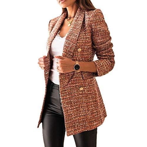 Mujer Blazer con Solapa de Doble Botonadura,Chaquetas de Traje a Cuadros Moda de Primavera y Otoño,Slim Fit Traje Corto de Manga Larga,Tops de Oficina de Trabajo,Elegante Abrigo Cárdigan marrón S
