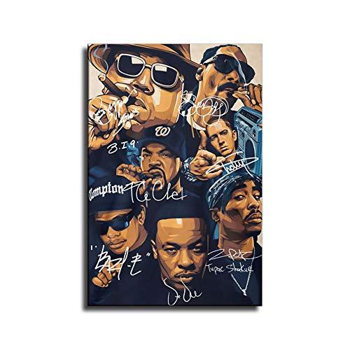 heshunxing Old School Rap Legends (Rapper Collage) Music Poster PrintWall Art Family Bedroom Decor
