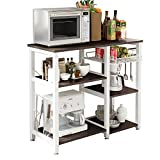 SogesHome Micorwave Shelf Unit Kitchen Oven Storage Shelf Baker's Rack Storage Cart Workstation Shelf 90 x 40 x 83 cm,W5S-BK-SH