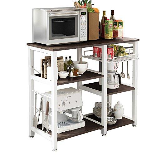 SogesHome 3 Ablage Küchenregal Bäcker Regal Standregal Mikrowellen Halter Küchen regallagerung Küchenwagen Servier,Schwarz 90 * 40 * 83 cm, W5S-BK-SH