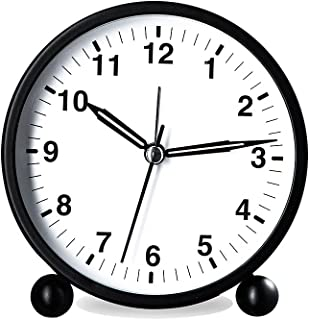 HZDHCLH 4 inch Analog Alarm Clock ,Silent Non Ticking Small Cute Table Clocks Battery Powered , Desk Clock with Night Ligh...