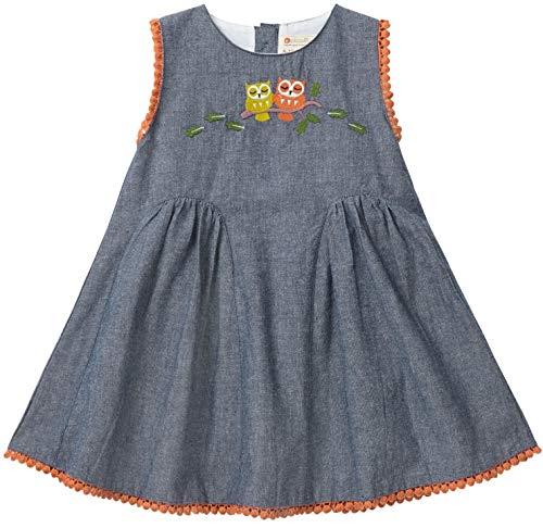 Piccalilly Jolie robe de fête pour bébé fille Coton Bio Broderie hibou - Bleu - 24 mois