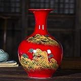 WLGO CeramicVase Jarrón de Porcelana de Moda Antiguo Rojo Jarrón Chino Arte Tradicional Decoración del hogar Florero Chino Jarrón Chino Antiguo Moderno Decoración Jarrón Tradicional para Sala