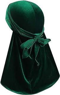 (Green) - Premium Velvet Durag 360, 540,720 Waves Extra Long Tail and Wide Straps for Men Du-RAG