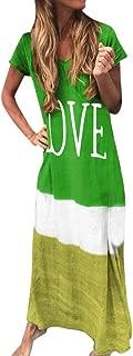 Womens Gradient Color Block Maxi Dress, Patchwork Fall Loose Dress