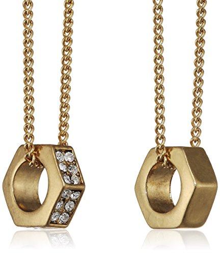 Pilgrim Jewelry Damen-Halskette Messing Pilgrim Damen-Halskette mit Anhänger aus der Serie Bold vergoldet, 80.0 + 90.0 cm 121332001
