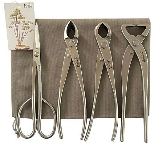 vouiu 4-Piece Bonsai Tool Set,Concave Cutter,Knob Cutter,Trunk Splitter,Bonsai Scissors