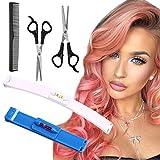 YMHPRIDE Lot de 5 outils de coupe de cheveux professionnels à la maison pour les coupes de cheveux, les franges, les bandes, les pointes fendues, les ciseaux professionnels (bleu/blanc)