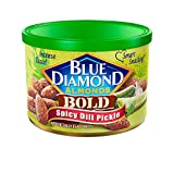 A bold new flavor of savory dill, zesty vinegar, and a spicy kick all wrapped around a satisfyingly crunch almond Great for an on-the-go snack Contains 1 - 6 ounce can of spicy dill pickle almonds