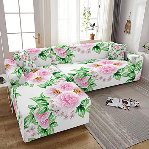 JINGQIAO Funda de sofá elástica para sala de estar 3D flor impresión Stretch Slipcovers seccional sofá cubierta 3 plazas funda de sofá L forma sofá