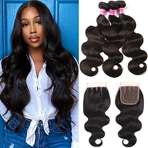 Mureen Brazilian Hair 3 Bundles with Closure (10 12 14 +10, Three Part) Body Wave 4×4 Virgin Hair Lace Closure with Bundles Unprocessed Human Hair Extensions Weave Weft With Closure Natural Color
