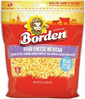 Borden Finely Shredded Four Cheese Mexican Cheese, 8 Oz