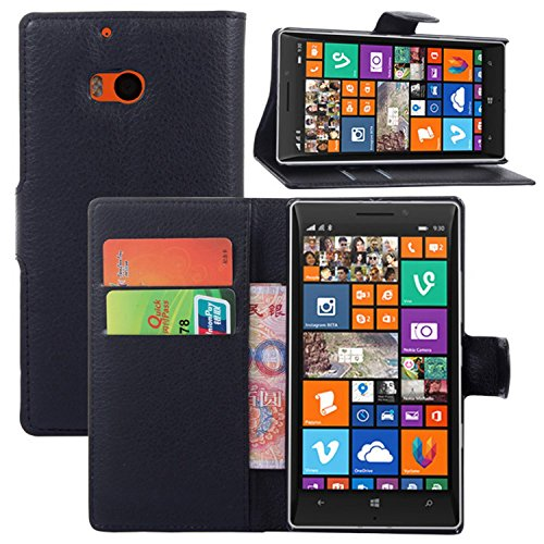 Ycloud Tasche für Nokia Microsoft Lumia 930 Hülle, PU Ledertasche Flip Cover Wallet Hülle Handyhülle mit Stand Function Credit Card Slots Bookstyle Purse Design schwarz