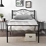 <span class='highlight'>VECELO</span> Single <span class='highlight'>Bed</span> <span class='highlight'>Frame</span> 3ft <span class='highlight'>Metal</span> Platform Mattress Foundation Modern Decorative Headboard & Footboard with Heavy Duty Support for Kids Adulte Teenagers suit mattress 190 * 90cm,Black