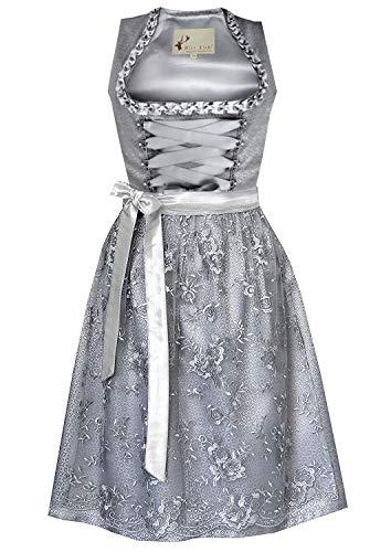 Alte Liebe 3tlg. Dirndl Kleid A455, Grau, 40