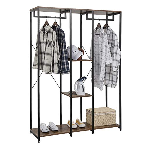 eSituro Extra Large Heavy Duty Clothes Rail, Double Rod Garment Rack,Wooden Coat Stand Clothings Wadrobe Organizer, 5 Tiers Metal Storage Shoe Rack Cabinet Shelves Shelving Unit Vintage