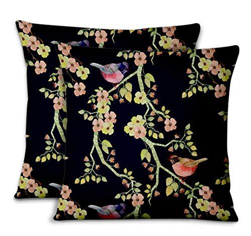 S4Sassy blå bomull poplin robin & blom designer säng rum kuddfodral kuddöverdrag prydnadskudde för hem 2 st – 18 x 18 tum