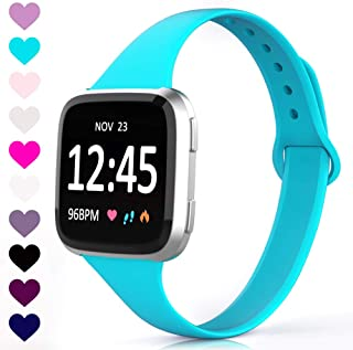 TreasureMax Compatible with Fitbit Versa Bands for Women/Men,Soft Silicone Thin Narrow Replacement Slim Bands for Fitbit Versa Lite SE Watch