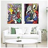 Retro Picasso Frauen Abstrakte Leinwand Kunstdruck Malerei