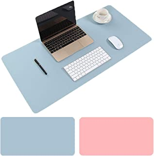 COZY DISCOVERY Large Desk Mat PU Leather 90x40cm, Dual-Sided Mouse Pad, Extended Soft Gaming Mousepad, Non-Slip Waterproof Desk Protector Cover, Multifunctional Desk Writing Mat Blotter (Pink & Blue)