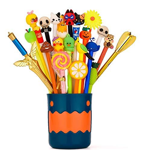 RECHENG With pen holder cartoon gel pens set,so cute kawaii fun black ink pens,best gift for kids,office school supplies,24pcs writing pens set