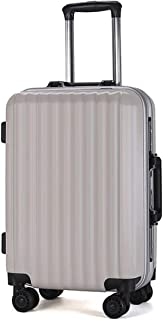 """XLHJFDI Lightweight Suitcases with Wheels, PC Material Simple Trolley Case, Convenient Trolley Case,20"""" 24"""" Inch (Color :Rose Gold, White, Dark Gray) (Color : White, Size : 24 inches)"""