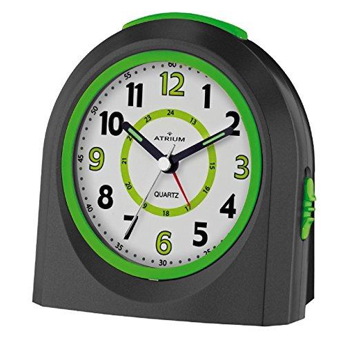 ATRIUM Wecker analog schwarz/grün ohne Ticken mit Licht und Snooze, Schlummerfunktion Quarz-Wecker A921-7